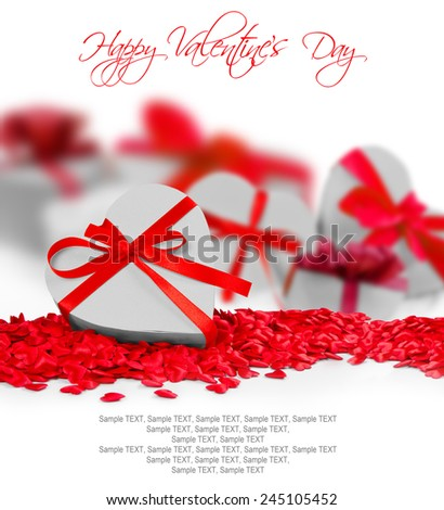 Heart shaped gifts on white background with space for text