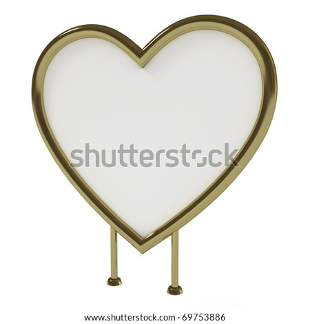 Heart-shaped golden sign board, blank, isolated on white with clipping path, 3d illustration