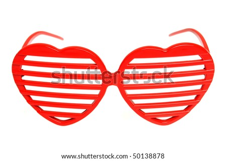 Heart shaped grille shades isolated on white - stock photo