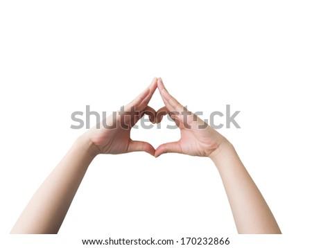 Heart shaped hand symbol isolated on white background. - stock photo