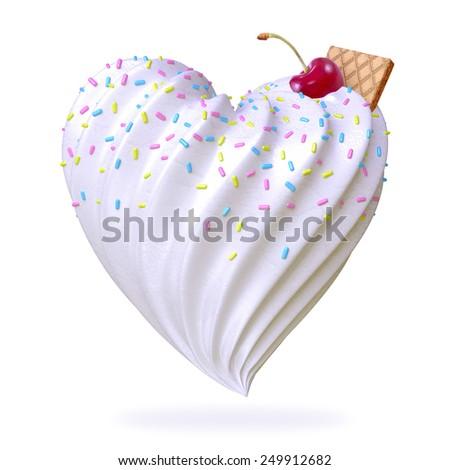 heart shaped ice cream - stock photo