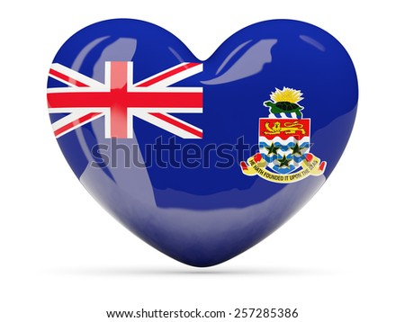 Heart shaped icon with flag of cayman islands isolated on white - stock photo
