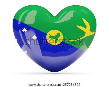 Heart shaped icon with flag of christmas island isolated on white - stock photo
