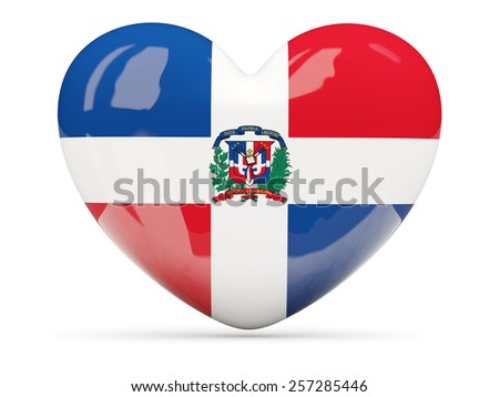 Heart shaped icon with flag of dominican republic isolated on white