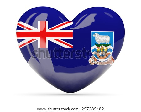 Heart shaped icon with flag of falkland islands isolated on white - stock photo