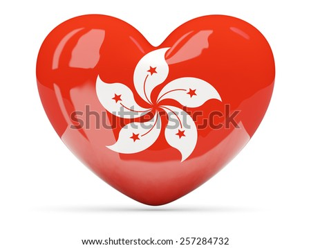 Heart shaped icon with flag of hong kong isolated on white