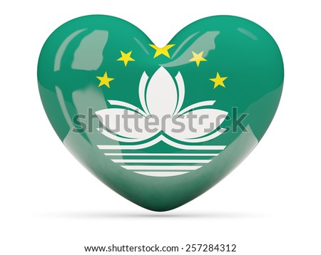 Heart shaped icon with flag of macao isolated on white - stock photo