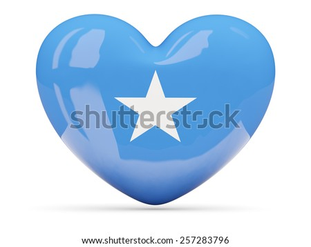 Heart shaped icon with flag of somalia isolated on white - stock photo