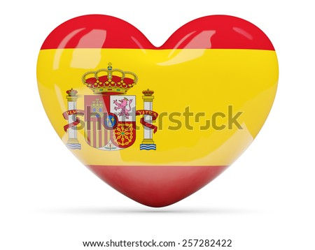 Heart shaped icon with flag of spain isolated on white - stock photo