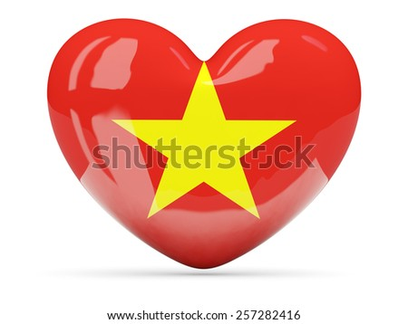 Heart shaped icon with flag of vietnam isolated on white - stock photo