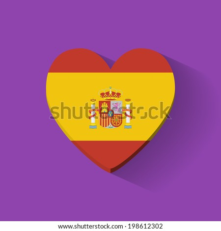 Heart-shaped icon with national flag of Spain. Flat design. Raster illustration. - stock photo