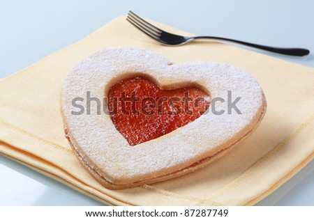 Heart shaped jam cookie