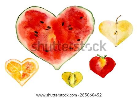 heart shaped juicy fruits:watermelon, apple, strawberry, orange, kiwi, hand-drawn watercolor - stock photo