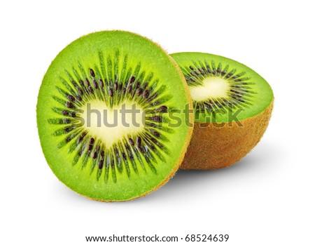 heart-shaped kiwi fruit isolated on a white - stock photo