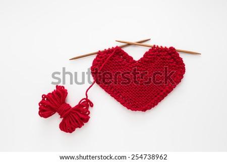 Heart Shaped Knitting Pattern Stock Photo Royalty Free 254738962