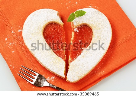 Heart shaped Linzer cookie - stock photo