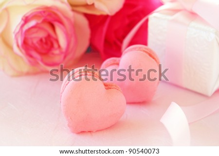 Heart shaped macaroons for valentine's day - stock photo