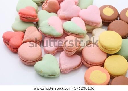 heart shaped mararons - stock photo