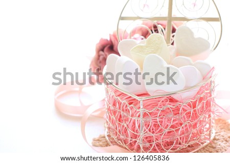 heart shaped marshmallow in gift box for valentine day image