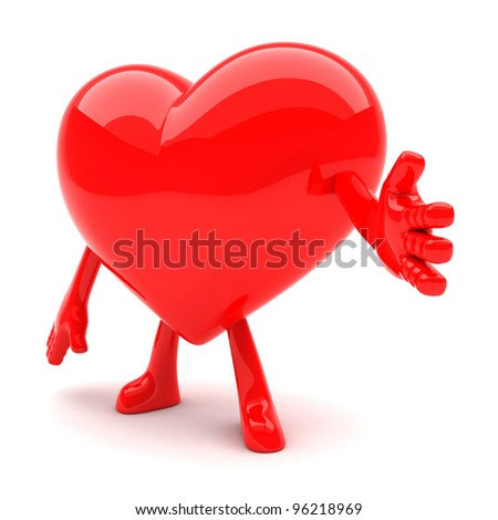 Heart shaped mascot wants to shake hands - stock photo