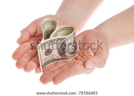 Heart shaped money, on white background. Clipping path included. - stock photo