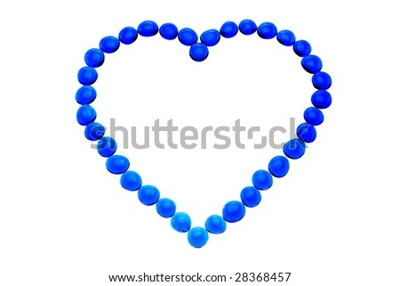 heart-shaped pattern made from blue vitreous ball - stock photo