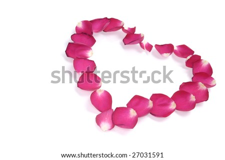 Heart-shaped pattern made from red rose petals isolated on white background - stock photo