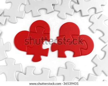 Heart-shaped pieces of puzzle lying among the ordinaries. 3D-rendered image - stock photo