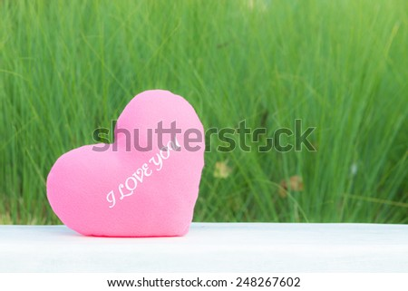 Heart shaped pillow on flower grass tree background  - stock photo