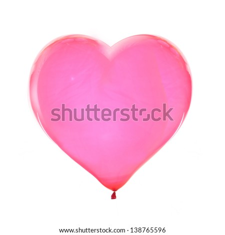 heart shaped red balloon. isolated on white - stock photo