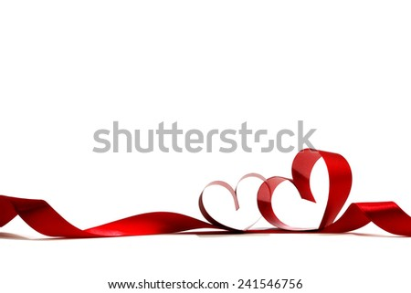 Heart shaped red ribbon isolated on white background - stock photo