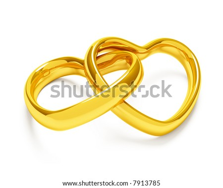 Heart shaped rings on white background - stock photo