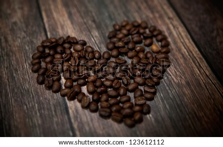 heart shaped roasted coffee beans