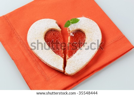 Heart shaped shortbread cookie - stock photo