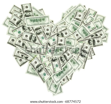 Heart shaped sign made with many 100 dollar banknotes isolated on white