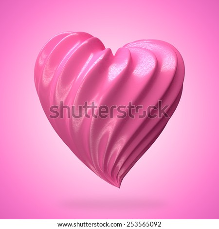 heart shaped strawberry cream,on a gradient background - stock photo