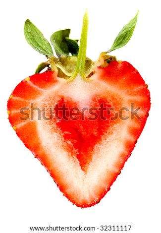 Heart shaped strawberry isolated over a white background - stock photo