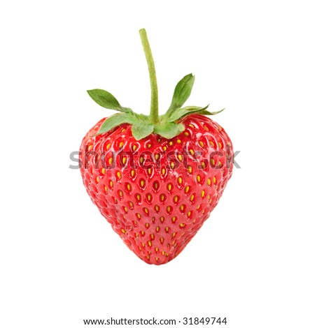 Heart shaped strawberry isolated over white background