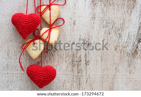 Heart shaped sugar cookies - stock photo