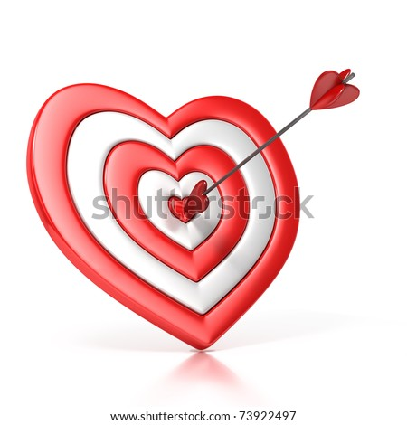 Heart shaped target arrow center isolated stock illustration heart shaped target with the arrow in the center isolated over white 3d illustration thecheapjerseys Images