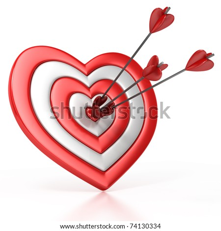 heart shaped target with the arrow in the center isolated over white 3d illustration - stock photo