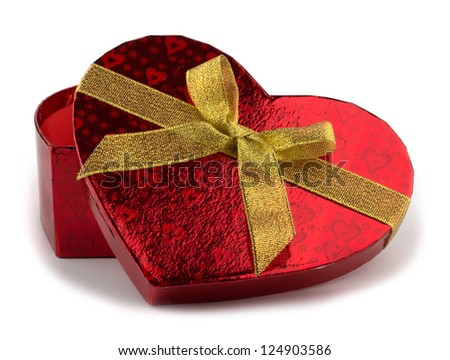 Heart shaped Valentines Day gift box on white background - stock photo