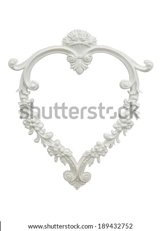 heart shaped vintage plaster photo frame isolated on white background - stock photo