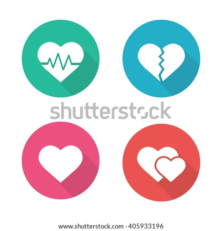 Heart shapes flat design icons set. Cardiology clinic logo concept. Long shadow pictograms. Heartbeat rhythm, broken heart, love sign, romantic relationship white silhouette raster illustrations - stock photo
