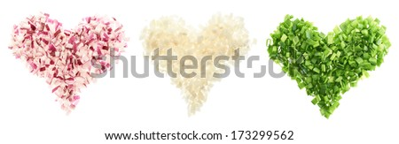 Heart shapes made of cut green, red and white onions isolated over white background - stock photo