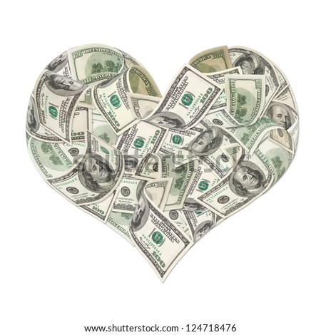 Heart sign made by 100 dollar banknotes isolated on white - stock photo