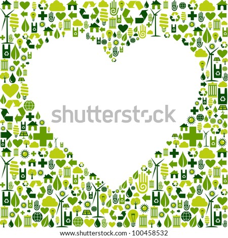 Heart silhouette made with eco friendly icon collection. - stock photo