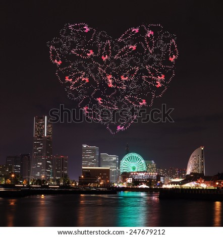 heart sparkle Fireworks celebrating over marina bay in Yokohama City, Japan - stock photo