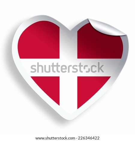 Heart sticker with flag of Denmark isolated on white - stock photo