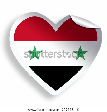 Heart sticker with flag of syria isolated on white